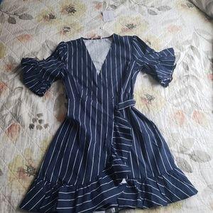 Wayf Dresses - WAYF Navy Striped Wrap Dress